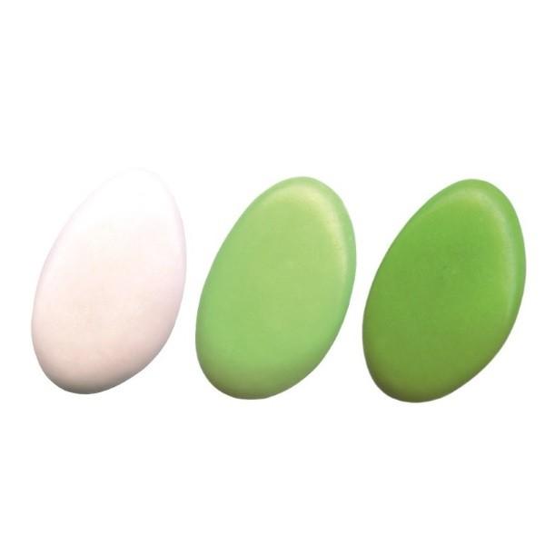 Schokoladendragées in Weiß, Hellgrün, Anisgrün seidenmatt glänzend