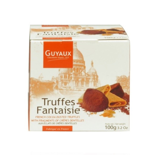 Truffes Fantaisie (Kakao Konfekt) mit Crêpes Dentelles Stückchen